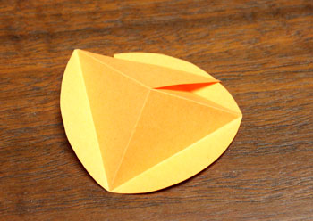 Pyramid Ball Ornament step 4 reverse fold to form peak