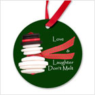 Snowman Round Ornament Love & Laughter Don't Melt from funEZ Bazaar