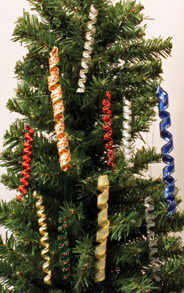 Wired Ribbon Icicles Ornaments hanging on a Christmas tree